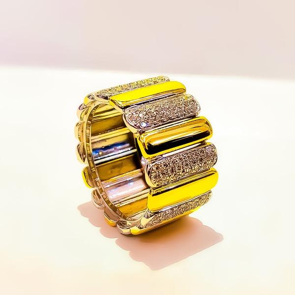 Anello Prestige Oro Giallo Oro Bianco Diamanti